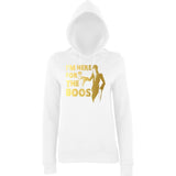 "Happy Halloween I'm here for the Boos Womens Hoodies Gold-Hoodies-AWD-Arctic white-XS UK 8 Euro 32 Bust 30""-Daataadirect"