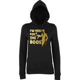"Happy Halloween I'm here for the Boos Womens Hoodies Gold-Hoodies-AWD-Black-XS UK 8 Euro 32 Bust 30""-Daataadirect"