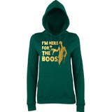 "Happy Halloween I'm here for the Boos Womens Hoodies Gold-Hoodies-AWD-Bottle Green-XS UK 8 Euro 32 Bust 30""-Daataadirect"