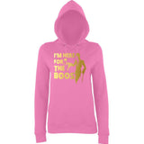 "Happy Halloween I'm here for the Boos Womens Hoodies Gold-Hoodies-AWD-Candyfloss Pink-XS UK 8 Euro 32 Bust 30""-Daataadirect"