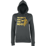 "Happy Halloween I'm here for the Boos Womens Hoodies Gold-Hoodies-AWD-Charcoal-XS UK 8 Euro 32 Bust 30""-Daataadirect"