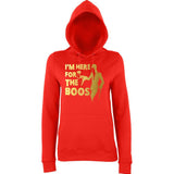 "Happy Halloween I'm here for the Boos Womens Hoodies Gold-Hoodies-AWD-Fire Red-XS UK 8 Euro 32 Bust 30""-Daataadirect"