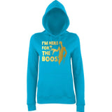 "Happy Halloween I'm here for the Boos Womens Hoodies Gold-Hoodies-AWD-Hawaiian Blue-XS UK 8 Euro 32 Bust 30""-Daataadirect"