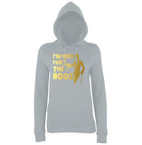 "Happy Halloween I'm here for the Boos Womens Hoodies Gold-Hoodies-AWD-Heather Grey-XS UK 8 Euro 32 Bust 30""-Daataadirect"