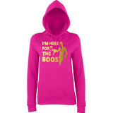 "Happy Halloween I'm here for the Boos Womens Hoodies Gold-Hoodies-AWD-Hot Pink-XS UK 8 Euro 32 Bust 30""-Daataadirect"