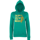 "Happy Halloween I'm here for the Boos Womens Hoodies Gold-Hoodies-AWD-Jade-XS UK 8 Euro 32 Bust 30""-Daataadirect"