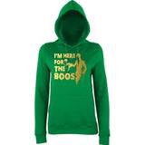 "Happy Halloween I'm here for the Boos Womens Hoodies Gold-Hoodies-AWD-Kelly Green-XS UK 8 Euro 32 Bust 30""-Daataadirect"