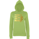 "Happy Halloween I'm here for the Boos Womens Hoodies Gold-Hoodies-AWD-Lime Green-XS UK 8 Euro 32 Bust 30""-Daataadirect"