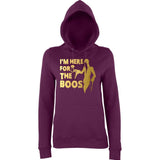 "Happy Halloween I'm here for the Boos Womens Hoodies Gold-Hoodies-AWD-Plum-XS UK 8 Euro 32 Bust 30""-Daataadirect"