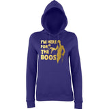 "Happy Halloween I'm here for the Boos Womens Hoodies Gold-Hoodies-AWD-Purple-XS UK 8 Euro 32 Bust 30""-Daataadirect"