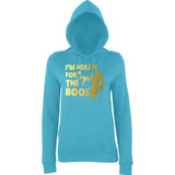 "Happy Halloween I'm here for the Boos Womens Hoodies Gold-Hoodies-AWD-Turquoise Surf-XS UK 8 Euro 32 Bust 30""-Daataadirect"