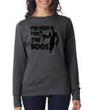 Happy Halloween I'm here for the Boos Womens SweatShirt Black-ANVIL-Daataadirect.co.uk