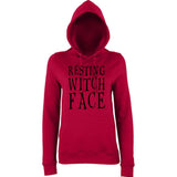 Happy Halloween resting witch face Womens Hoodies Black-AWD-Daataadirect.co.uk