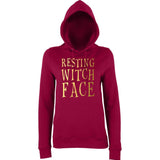 Happy Halloween resting witch face Womens Hoodies Gold-AWD-Daataadirect.co.uk