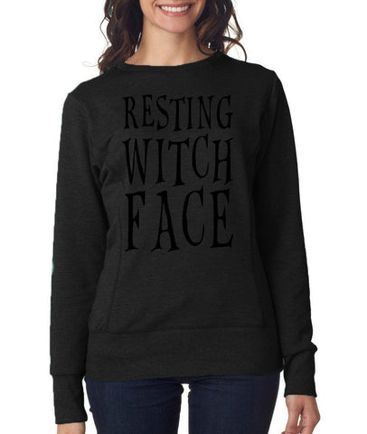 Happy Halloween resting witch face Womens SweatShirt Black-ANVIL-Daataadirect.co.uk