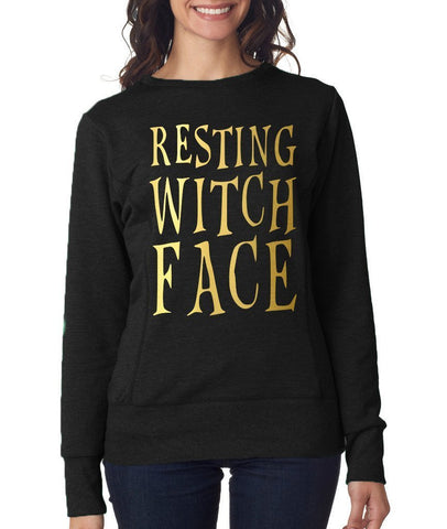 Happy Halloween resting witch face Womens SweatShirt Gold-ANVIL-Daataadirect.co.uk