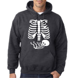 "Happy Halloween skelton xray Men Hoodies-Hoodies-Gildan-Dk Heather-S To Fit Chest 36-38"" (91-96cm)-Daataadirect"