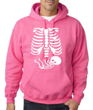 "Happy Halloween skelton xray Men Hoodies-Hoodies-Gildan-Safety Pink-S To Fit Chest 36-38"" (91-96cm)-Daataadirect"
