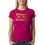 "Happy Halloween What's up my witches Womens T Shirts Gold-T Shirts-Gildan-Antique Heliconia-S UK 10 Euro 34 Bust 32""-Daataadirect"