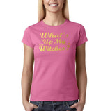 "Happy Halloween What's up my witches Womens T Shirts Gold-T Shirts-Gildan-Azalea-S UK 10 Euro 34 Bust 32""-Daataadirect"