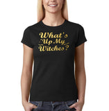 "Happy Halloween What's up my witches Womens T Shirts Gold-T Shirts-Gildan-Black-S UK 10 Euro 34 Bust 32""-Daataadirect"