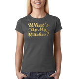 "Happy Halloween What's up my witches Womens T Shirts Gold-T Shirts-Gildan-Charcoal-S UK 10 Euro 34 Bust 32""-Daataadirect"