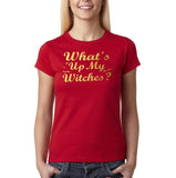 "Happy Halloween What's up my witches Womens T Shirts Gold-T Shirts-Gildan-Cherry Red-S UK 10 Euro 34 Bust 32""-Daataadirect"