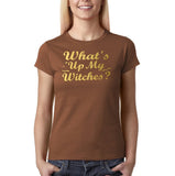 "Happy Halloween What's up my witches Womens T Shirts Gold-T Shirts-Gildan-Chestnut-S UK 10 Euro 34 Bust 32""-Daataadirect"