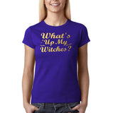 "Happy Halloween What's up my witches Womens T Shirts Gold-T Shirts-Gildan-Cobalt-S UK 10 Euro 34 Bust 32""-Daataadirect"