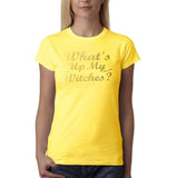 "Happy Halloween What's up my witches Womens T Shirts Gold-T Shirts-Gildan-Daisy-S UK 10 Euro 34 Bust 32""-Daataadirect"