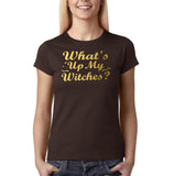 "Happy Halloween What's up my witches Womens T Shirts Gold-T Shirts-Gildan-Dk Chocolate-S UK 10 Euro 34 Bust 32""-Daataadirect"
