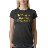"Happy Halloween What's up my witches Womens T Shirts Gold-T Shirts-Gildan-Dk Heather-S UK 10 Euro 34 Bust 32""-Daataadirect"