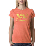 "Happy Halloween What's up my witches Womens T Shirts Gold-T Shirts-Gildan-Heather Orange-S UK 10 Euro 34 Bust 32""-Daataadirect"