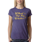 "Happy Halloween What's up my witches Womens T Shirts Gold-T Shirts-Gildan-Heather Purple-S UK 10 Euro 34 Bust 32""-Daataadirect"
