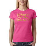 "Happy Halloween What's up my witches Womens T Shirts Gold-T Shirts-Gildan-Heliconia-S UK 10 Euro 34 Bust 32""-Daataadirect"