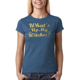 "Happy Halloween What's up my witches Womens T Shirts Gold-T Shirts-Gildan-Indigo Blue-S UK 10 Euro 34 Bust 32""-Daataadirect"