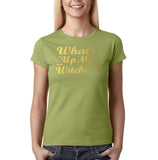 "Happy Halloween What's up my witches Womens T Shirts Gold-T Shirts-Gildan-Kiwi-S UK 10 Euro 34 Bust 32""-Daataadirect"