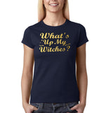 "Happy Halloween What's up my witches Womens T Shirts Gold-T Shirts-Gildan-Navy Blue-S UK 10 Euro 34 Bust 32""-Daataadirect"