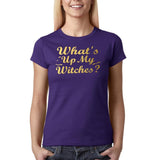 "Happy Halloween What's up my witches Womens T Shirts Gold-T Shirts-Gildan-Purple-S UK 10 Euro 34 Bust 32""-Daataadirect"