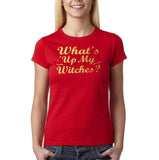 "Happy Halloween What's up my witches Womens T Shirts Gold-T Shirts-Gildan-Red-S UK 10 Euro 34 Bust 32""-Daataadirect"