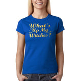 "Happy Halloween What's up my witches Womens T Shirts Gold-T Shirts-Gildan-Royal Blue-S UK 10 Euro 34 Bust 32""-Daataadirect"