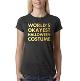 "Happy Halloween world's okayest halloween costume Womens T Shirts Gold-T Shirts-Gildan-Dk Heather-S UK 10 Euro 34 Bust 32""-Daataadirect"