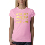 "Happy Halloween world's okayest halloween costume Womens T Shirts Gold-T Shirts-Gildan-Light Blue-S UK 10 Euro 34 Bust 32""-Daataadirect"