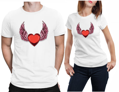 Heart With Wings Love Tattoo Valentine's Day T-Shirt-Daataadirect-Daataadirect.co.uk