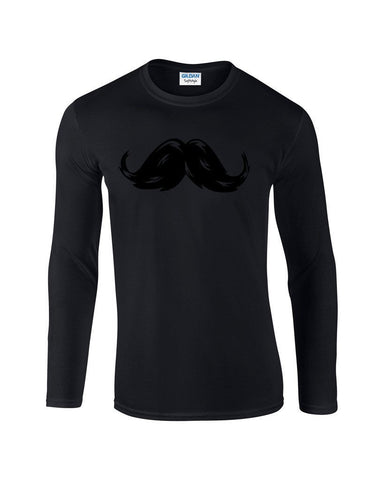 "Heavy Mustache Mens Long SleeveT Shirt Black-Long Sleeve T Shirts-Gildan-black-S To Fit Chest 36-38"" (91-96cm)-Daataadirect"