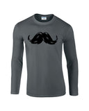 "Heavy Mustache Mens Long SleeveT Shirt Black-Long Sleeve T Shirts-Gildan-charcoal-S To Fit Chest 36-38"" (91-96cm)-Daataadirect"