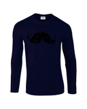 "Heavy Mustache Mens Long SleeveT Shirt Black-Long Sleeve T Shirts-Gildan-navy-S To Fit Chest 36-38"" (91-96cm)-Daataadirect"