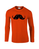 "Heavy Mustache Mens Long SleeveT Shirt Black-Long Sleeve T Shirts-Gildan-orange-S To Fit Chest 36-38"" (91-96cm)-Daataadirect"