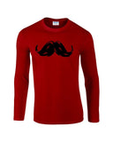 "Heavy Mustache Mens Long SleeveT Shirt Black-Long Sleeve T Shirts-Gildan-red-S To Fit Chest 36-38"" (91-96cm)-Daataadirect"