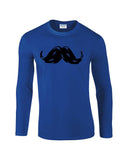 "Heavy Mustache Mens Long SleeveT Shirt Black-Long Sleeve T Shirts-Gildan-royal-S To Fit Chest 36-38"" (91-96cm)-Daataadirect"